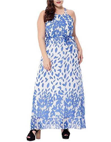 pgooodp Women's Floral Sundress Sleeveless Maxi Party Beach Dress Light Blue US 16W