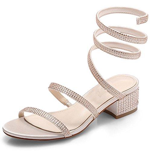 Champán Mujeres Tiras Romanas De Sandales Zapatos Tacones Con Verano Altos Gruesos Salvajes Sandalias qzSz7Tw