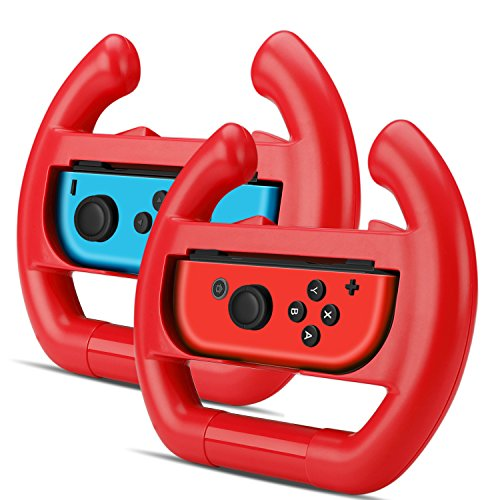 TNP Nintendo Switch Wheel for Joy-Con Controller (Set of 2) - Racing Steering Wheel Controller Accessory Grip Handle Kit Attachment (Red) - Nintendo Switch