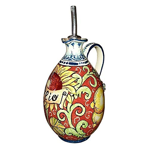 CERAMICHE D'ARTE PARRINI - Italian Ceramic Art Pottery Oil Cruet Bottle Decorated Sunflower Lemon Hand Painted Made in ITALY Tuscan