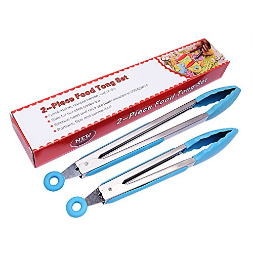 Scomfy Kitchen Silicone Tongs Set of 2(Blue)