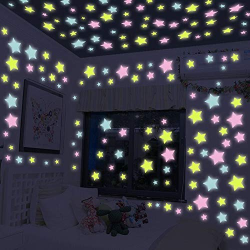 Ultra Brighter Glow in The Dark Stars for Kids - Special Deal 100 Count, Amazing for Children and Toddler Decorations Wall Stickers for Boys Girls Room!(Colorful-100pcs) ()