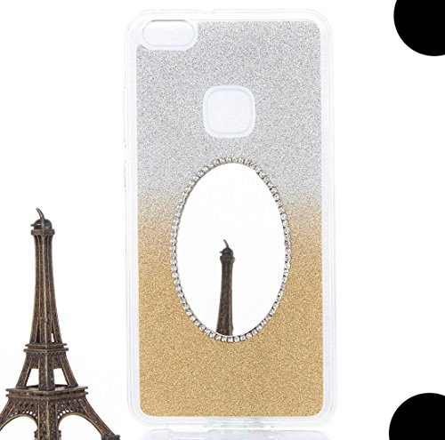 Huawei P9Lite Case, Very Light Slim Anytime Mini Make Up Back Mirror Design Shiny Glitter Soft Style, WEIFA 2018 Newest Charming Personal CellPhone Cover Case For Huawei P9 Lite Gold