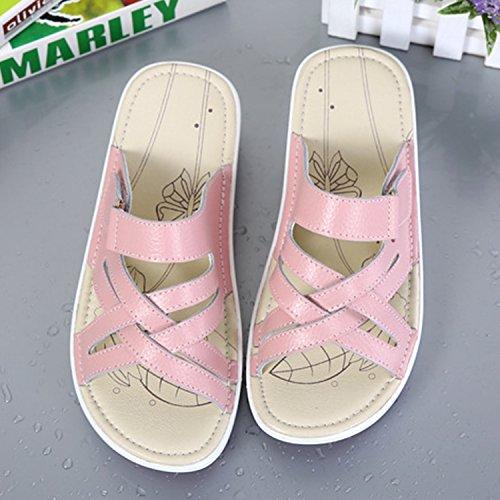 Mules de Frestepvie Femme Eté Rose Plage Mode Compensée Casual Vacances Vintage Chaussure Confortable Sandales Tongs dvrvqg1xw