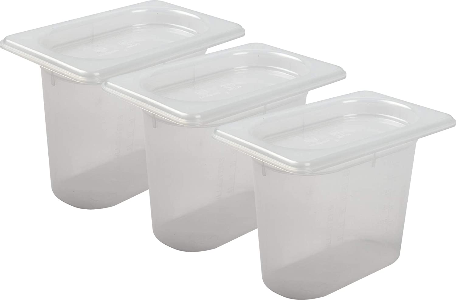 San Jamar MP19RD Mod Pans 1/9 Food Pan with Lid, Retail Pack, 1 Quart (Pack of 3)