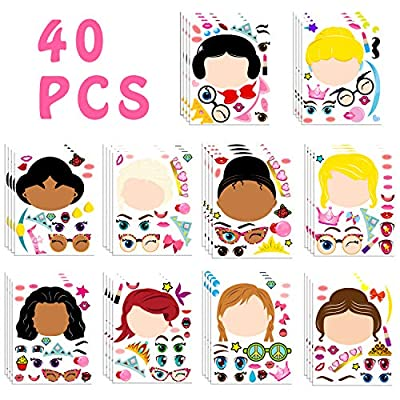 MALLMALL6 40Pcs Princess Make a Face Stickers DIY Party Favors Games Princess Themed Birthday Party Supplies Sticker Royal Queen Party Decorations Ariel Cinderella Elsa Dress Up Crafts for Kids Girls: Arts, Crafts & Sewing
