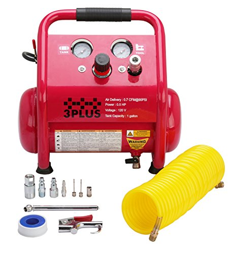 3PLUS HCB0504M02 1 Gallon Quiet Air Compressor, Portable, Oil-Free Air Compressor, w/11 Piece Accessory Kit Including Air Hose & Blow Gun