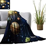Flannel Fleece Blanket Educational,Realistic Illustration of Solar System Sun Planets Orbit Astronomy Outer
