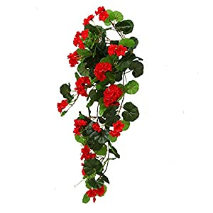 Lopkey Artificial Silk Begonia Flowers with Basket Outdoor/Indoor Decor,Red 46