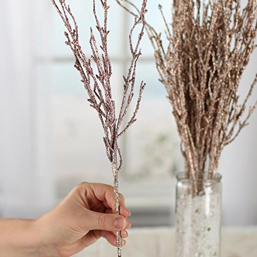 Factory Direct Craft Group of 12 Glitzy Rose Gold Glitter Twig Embellishing Stems for Event Decor, Home Accenting and Creating