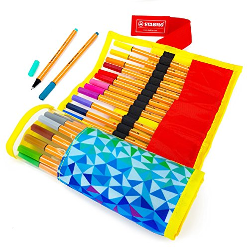STABILO Point 88 Fineliners – Assorted Set of 25 Colours – Limited Edition Rollerset Wrap