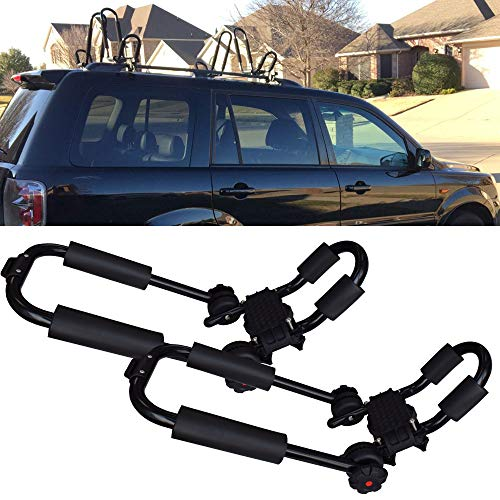 One Pair Roof Rack J-Bar Racks Cross Bars Folding Carrier for Your Canoe,Surf Board,SUP and Kayaks on Your SUV,car or Truck (1 Year Warranty)