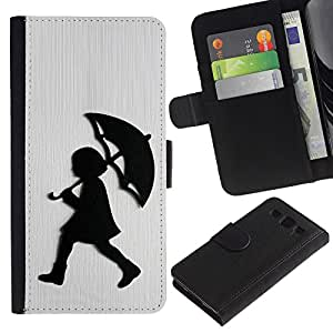 KingStore / Leather Etui en cuir / Samsung Galaxy S3 III I9300 / Chica Lluvia Blanca metal cepillado;