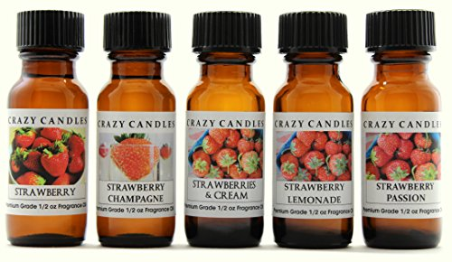 Crazy Candles 5 Bottles Set: 1 Strawberry, 1 Strawberry Champagne, 1 Strawberry & Cream, 1 Strawberry Lemonade, 1 Strawberry Passion 1/2 Fl Oz Each (15ml) Premium Grade Scented Fragrance Oils ()
