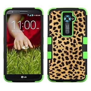 One Tough Shield ? 3-Layer Hybrid phone Case (Black/Green) for LG Optimus G2 - (Cheetah Gold/Black) by lolosakes