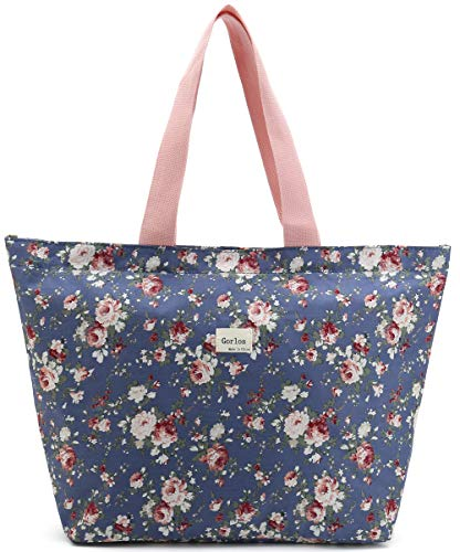 (Tote Shopping Bag for Women,Coin Purse Makeup Bag,School Backpack for Litter Girls Student (D-Tote Bag-Floral-Dark)