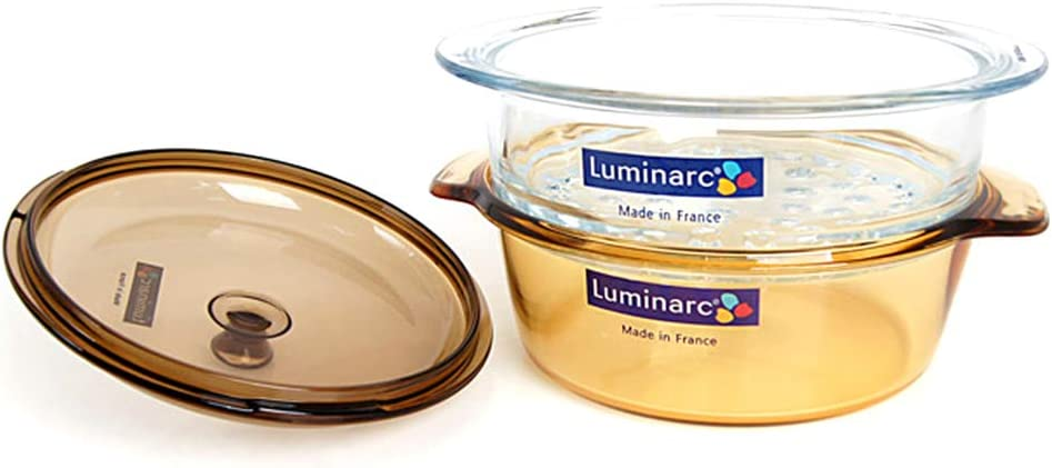 Luminarc Vitro Blooming Cookware Set, 2-Quart Cooking Pot with Steamer Basket, 3-Piece