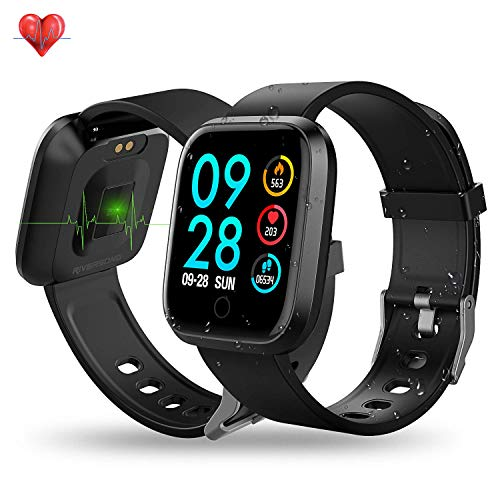 Xiaojun Smart Watch Square IP68 Waterproof Fitness Tracker Sport Watch with Heart Rate Sleep and Chick, for iOS/Android,Black (Ios Ui Best Practices)