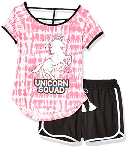 (One Step Up Girls' Big Soft Knit Top and Short Set, Pink Black Unicorn, 7/8)
