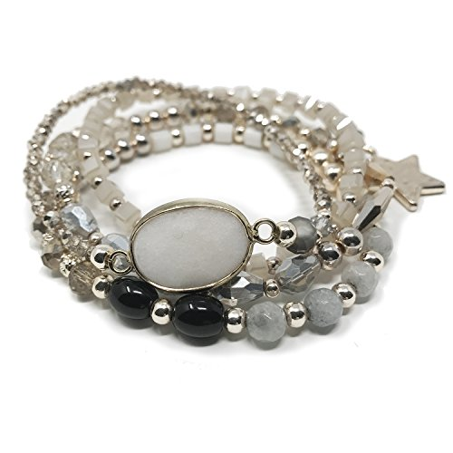 UPC 045927394306, JADE POP - Women's Multicolored Beaded Stretch Stackable Chain Bracelet Set with Charm - Grey Star
