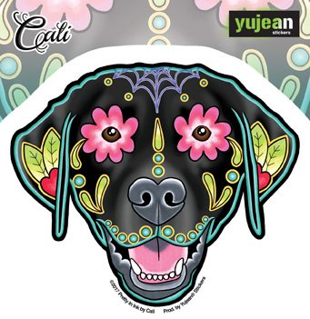 Cali Of Pretty   Sugar Skull Dogs   Die Cut Sticker Decal  Cali Black Labrador