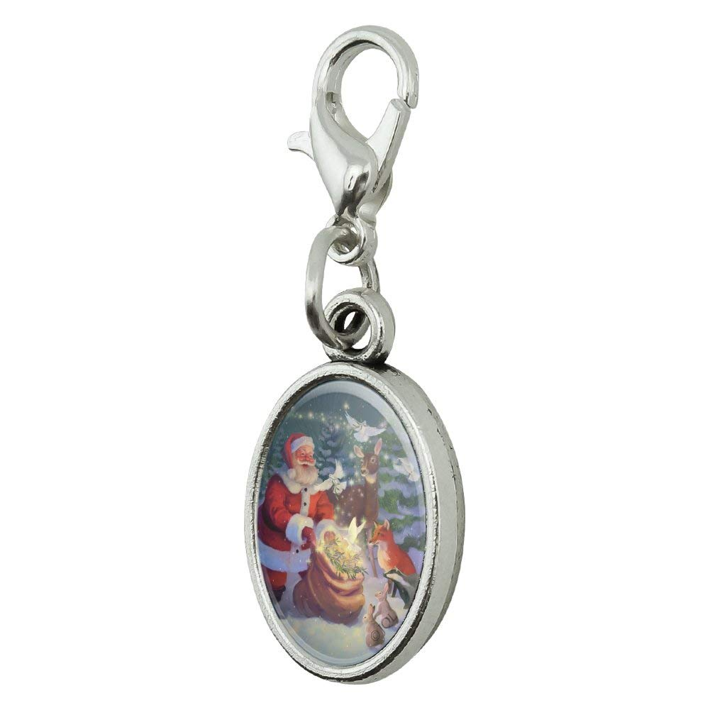 GRAPHICS /& MORE Christmas Holiday Santa Magic Peace Doves Antiqued Bracelet Pendant Zipper Pull Oval Charm with Lobster Clasp