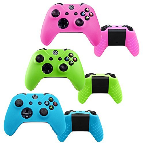 YTTL®3 Pack Glow in Dark Silicone Gel Rubber Grip Protective Case Skin Cover For Microsoft Xbox One Wireless Controller – Blue/ Green/ Pink