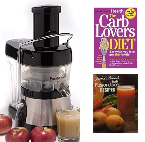 Jack Lalanne Juicer, Stainless Steel Electric Low Heat 3600 RPM Power Juice Extractor + 24 Juice Recipes + The Carb Lovers Diet Book (Machine Juice Business compare prices)