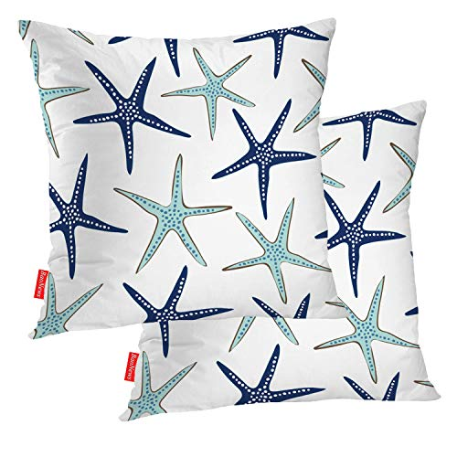 BaoNews Coastal Nautical Pillow Covers, Coastal Nautical Starfish Repeat Pattern Navy Blue Square 18 x 18 Inches Decorative Throw Pillow Covers Cotton Cushion for Sofa Bedroom Car, Blue 07, Set of 2 (Navy Throw Pillows Nautical)