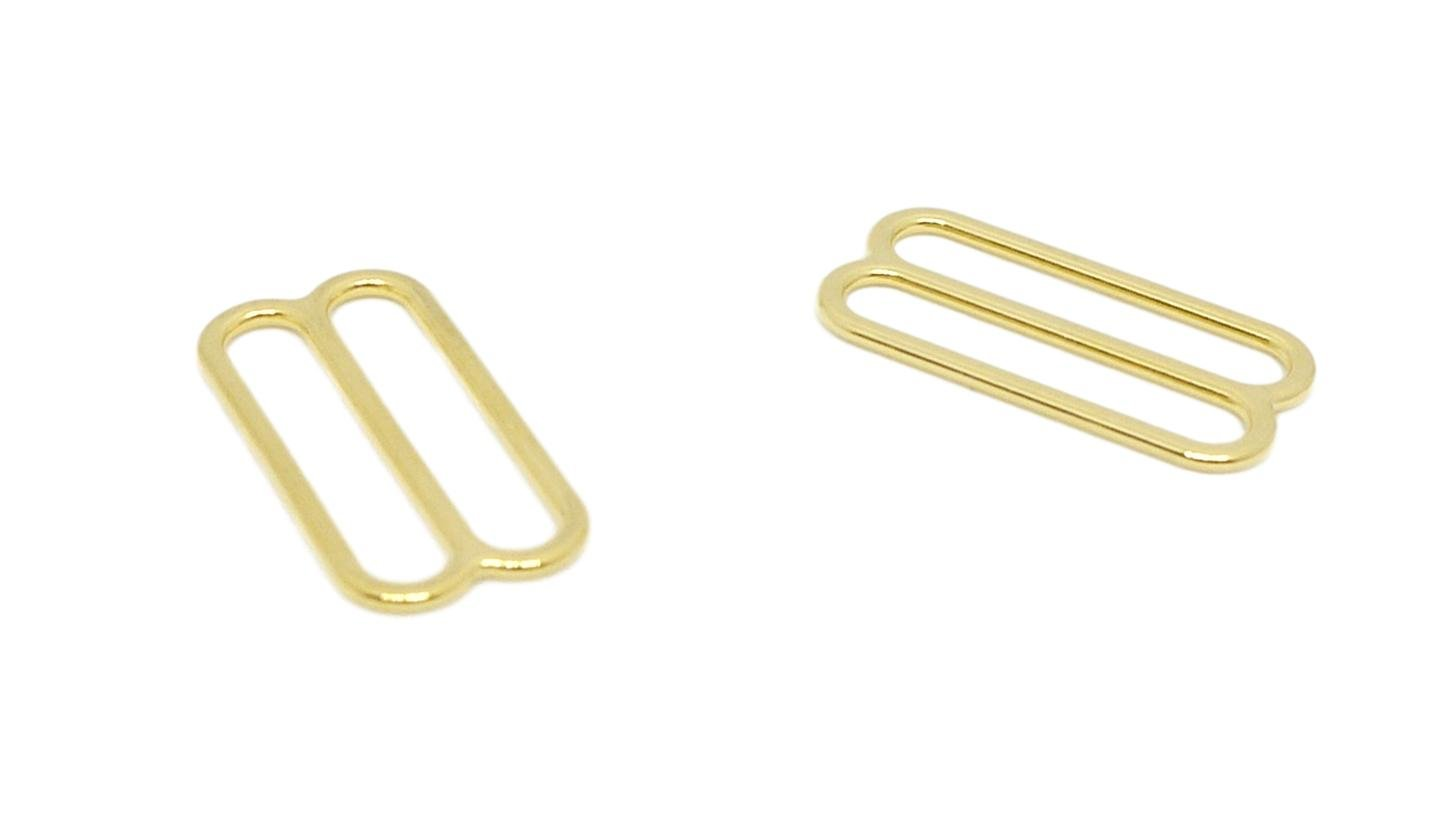 Porcelynne Gold Metal Alloy Replacement Bra Strap Slide - 1'' (25mm) Opening - 100 Pairs (200 Pieces) by Porcelynne