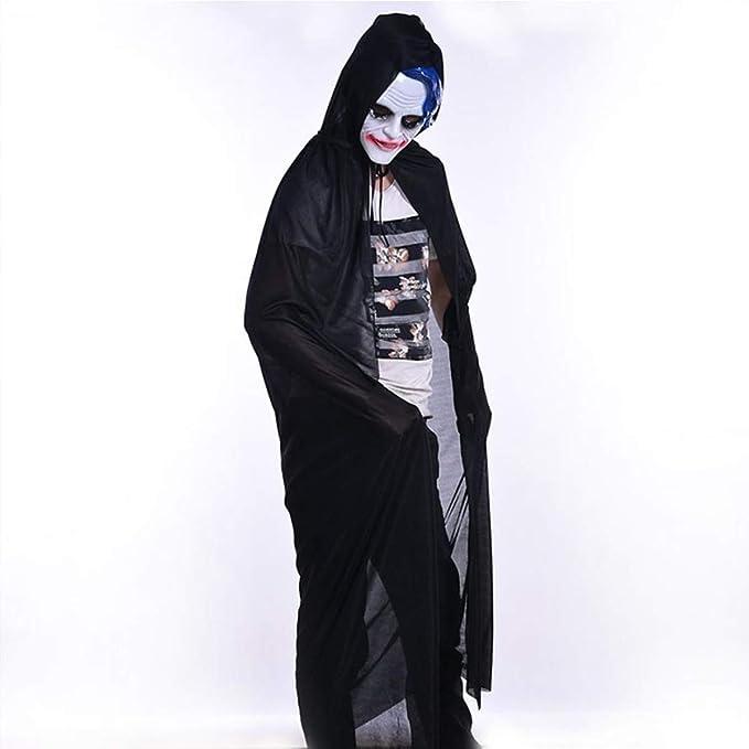 Modaka Mantello Morte Costume Wicca Mantello Lungo con Cappuccio per Adulto  Halloween Mantello Nero