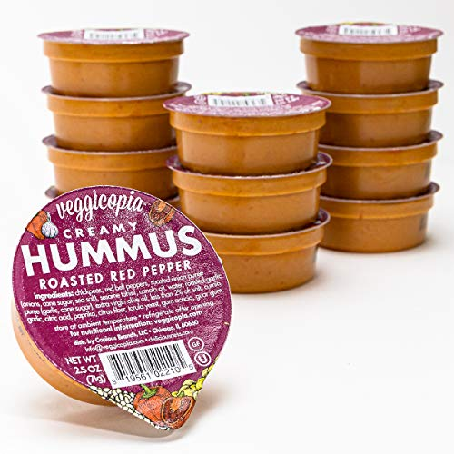 Veggicopia Creamy Roasted Red Pepper Hummus - satisfying taste of roasted red peppers - All natural, gluten free, dairy-free, vegan - No refrigeration required - 2.5 oz dip cups (Pack of 12) (Roasted Red Pepper Hummus Recipe Without Tahini)