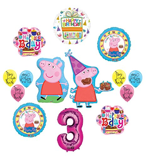 Mayflower Products Peppa Pig 3rd Birthday Party Supplies and Balloon Bouquet decorations kit]()