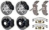 """WILWOOD FRONT & REAR DISC BRAKE KIT WITH 2"""" DROP SPINDLES, 12"""" DRILLED ROTORS, BLACK 6 & 4 PISTON CALIPERS, PADS, STEEL BRAIDED LINES, 1955 1956 1957 CHEVY'S, TRI-5, 150, 210, BEL AIR, NOMAD, HEIDT'S"""