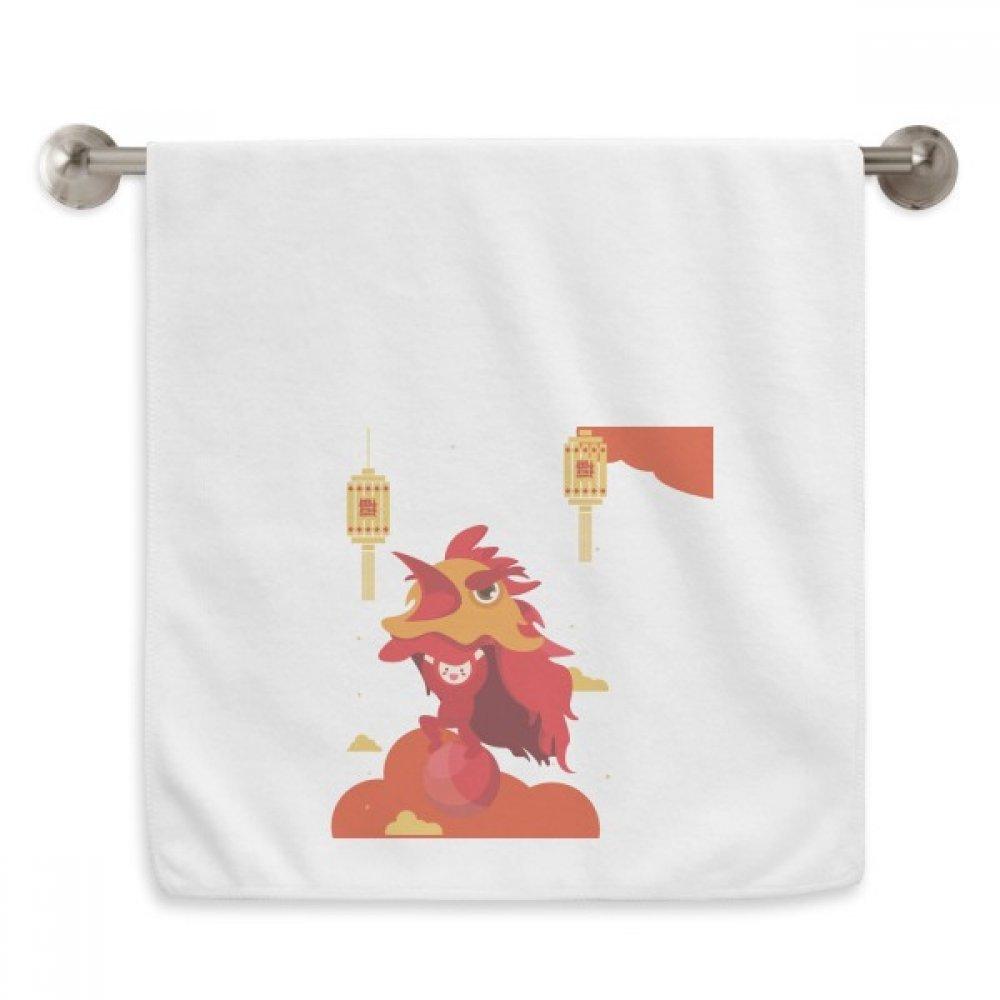 DIYthinker Red Lantern Lion Dance China Town Circlet White Towels Soft Towel Washcloth 13x29 Inch