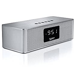 Portable Wireless Premium Stereo Speaker, Bluetooth 4.0, Alarm Clock, FM Radio, with LED Display, Powerful Sound 10W Drivers, Handsfree Calling, Micro TF SD Card & USB & AUX-In Slots for Smart Phone