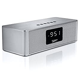 Dovital Portable Wireless Premium Stereo Speaker Bluetooth 4.2, Alarm Clock FM Radio LED Display, HD Sound Dual Channel…
