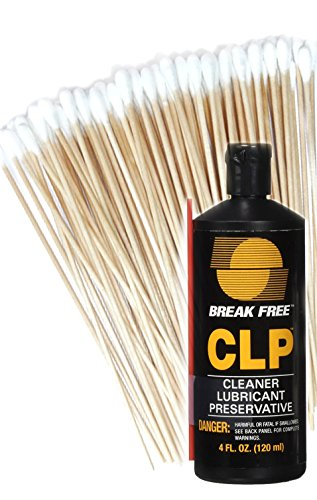 Break-Free CLP-4 Cleaner Lubricant Preservative Squeeze Bottle (4 -Fluid Ounce) and Cotton Swabs by BreakFree and Hit Delights