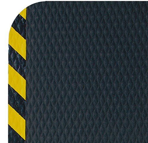 Hog Heaven Premium 7/8'' Thickness Black & Yellow Border 5' x 10' Nitrile Backed Anti-Fatigue Comfort Mat