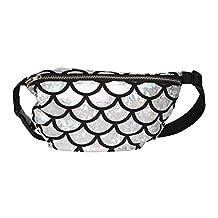 Finance Plan Shiny Fish Scale Waist Bag Fanny Pack Women Makeup Cosmetics Pouch Storage Bag