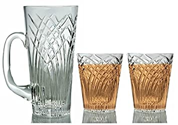 GAC Mouth Blown Set of 4 Stemless Wine Glasses, Double Old Fashion Crystal Drinking Glasses, High Class Crystal Glasses
