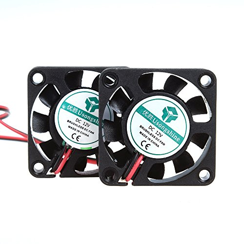 Anmbest 2PCS 4010 Silent Brushless Cooling Fan 2 pin Brushless 4CM Fans DC 12V 0.1A 40mm X 40mm X 10mm for Cool 3D Printers Parts PC Case CPU Cooler Sleeve (Brushless Cooling)