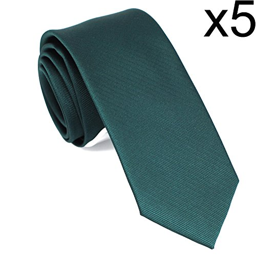 Skinny Solid Color Neckties Wedding Ties for Groomsmen 5 Pack ST511 by ZENXUS