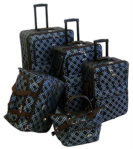 American Flyer Luggage Pemberly Buckles 5 Piece Set, Metallic Blue, One Size