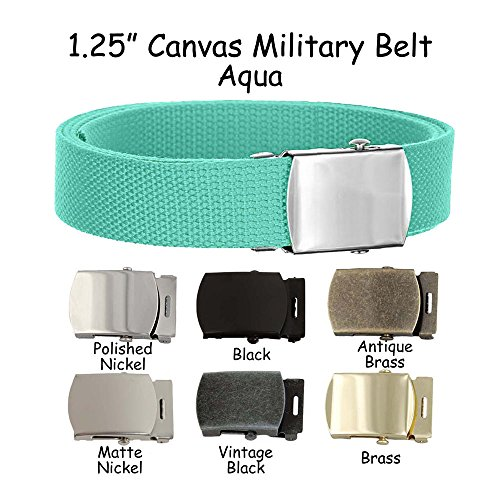 Canvas Belt Military Style - Aqua - Choose Size and Buckle Color (XL 42-50, Polish Nickel Buckle)