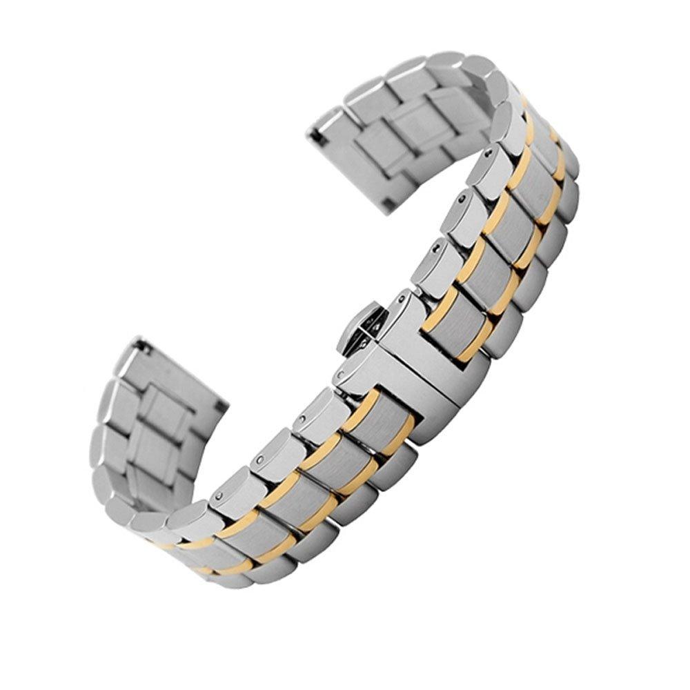 MSTRE jg02ステンレススチールバタフライバックルリンク腕時計のバンドのArmani /ティソ/ Fiyta Watches 22mm jianjin 22mm|jianjin jianjin 22mm B0723GTSFC