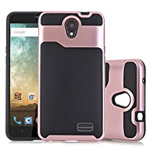 ZTE Prestige N9132 Case,ZTE Avid Plus Z828 Case,ZTE Maven 2 Z831 Case,ZTE Sonata 3 Z832 Case,ZTE Avid Trio Z833 Case,IVIKKLY [Shock Wave] Dual Layer Armor Defender ShockProof Case (Rose Gold+ Black)