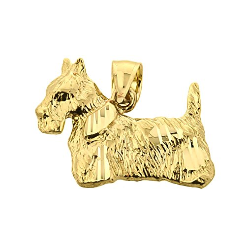 - Textured 14k Yellow Gold Scottish Terrier Dog Charm Pendant