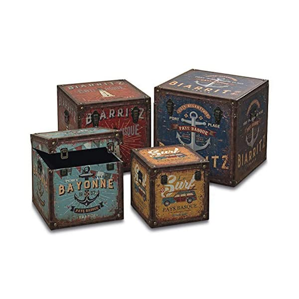 WHW Whole House Worlds World Traveler Seaside Steamer Trunk Storage Boxes, Set of 4, Various Sizes, Over 4 1/2 Ft…