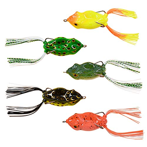 WSHAREG Frog Fishing Lures, Topwater Soft Plastic Baits for Freshwater and Saltwater, Crankbaits Tackle Kit for Bass Walleye Crappie, Swimbaits with Double Hard Hooks (5pcs/Box)